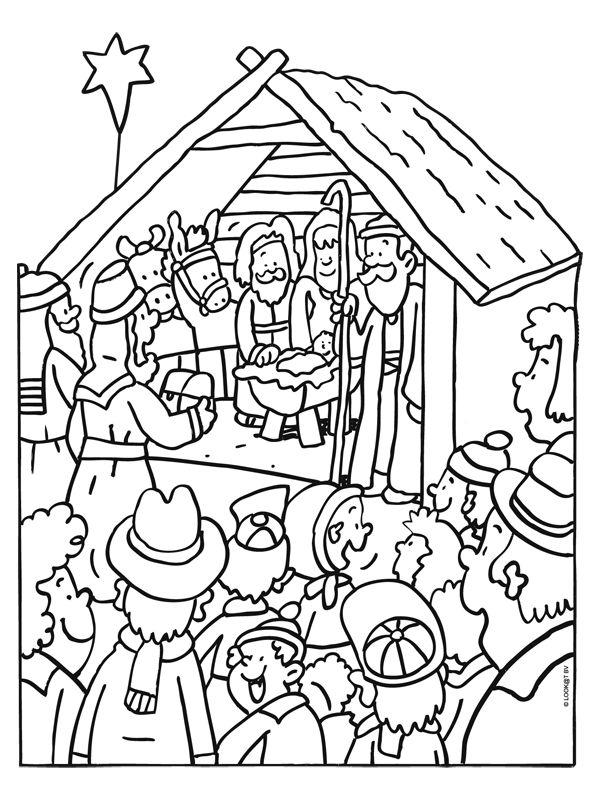 Kleurplaat Kerst Peuters Kleurplaat Levende Kerststal In De Stad Kleurplaten Nl