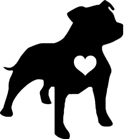 Staffie Heart Decal Sticker