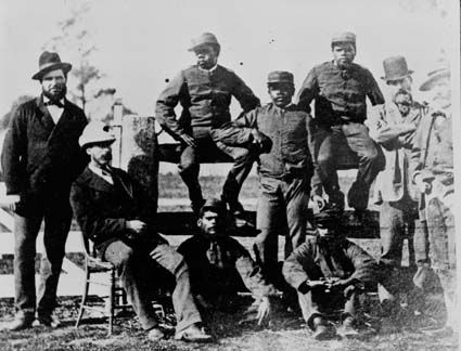Police trackers recruited from Aboriginal tribes in Queensland during the hunt for the Ned Kelly Gang in north-east Victoria, circa 1880.