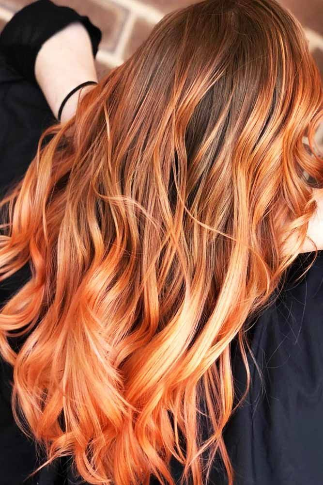 25 Eye Catching Ideas Of Pulling Of Orange Hair Today Brunette Hair Color Orange Ombre Hair Ombre Hair Color