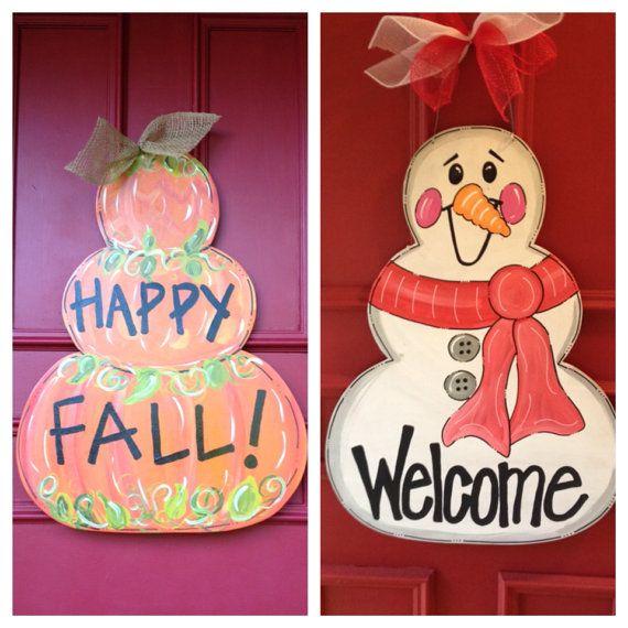 Reversible Pumpkin/Snowman Door Hanger on Etsy, $68.00