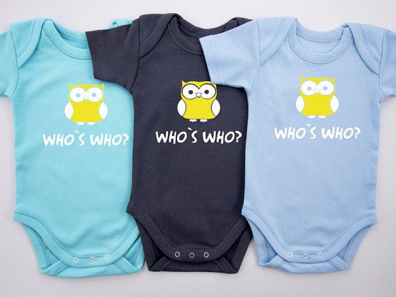 Triplet Boys Bodysuits, WHO IS WHO Funny Triplet Outfits, Set of 3 Bodysuits, Short Sleeve or Long Sleeve, Triplet Baby Shower Gift