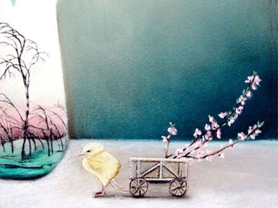 blank card  yellow chick vintage  vase  cherry by KatkasArtStudio