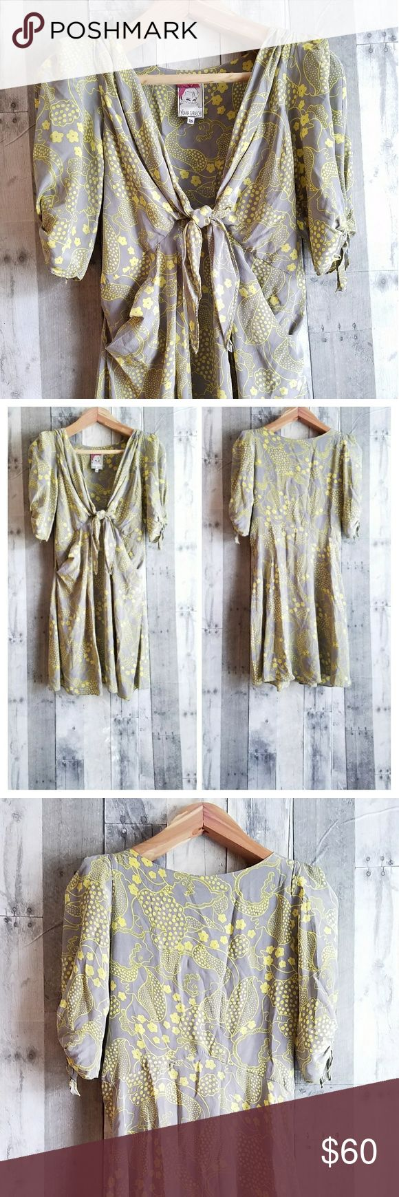 "🍍EUC ANTHROPOLOGIE YOANA BARASCHI silk dress EUC ANTHROPOLOGIE YOANA BARASCHI 100% silk grey and yellow dress. This is a stunner! Such a classic and elegant look. The measurements are as follows- Armpit to armpit-  Shoulder to shoulder- 17"" Bust- 30"" Waist- 29"" Hips- 50"" Length- 38"" Yoana Baraschi Dresses"