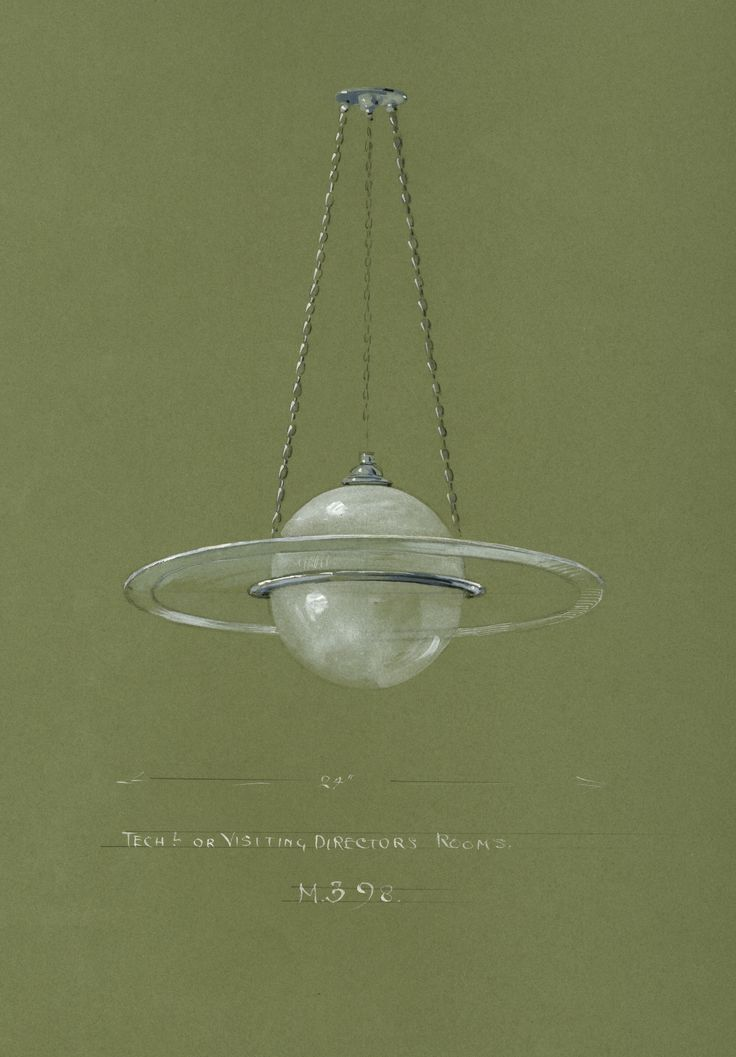 Watercolour of electric light fitting by Lucas and Pyke c1920s-1930s. IET Archives ref. NAEST 019. #lighting #interiordesign #histSTEM