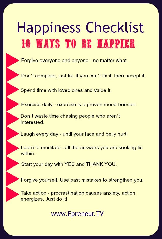 10 Ways To Be Happier | Epreneur TV | checklist (+ article which expands on the 10  points)
