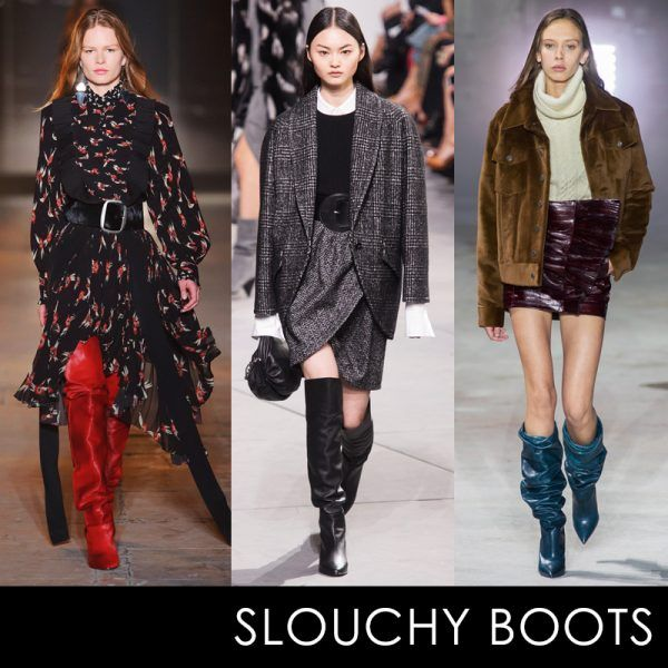 - Over-the-knee boots have hada major moment for several seasons now, and slouchy iterations are stepping in as the new look. We love them in supple leather neutrals and vivid colors.