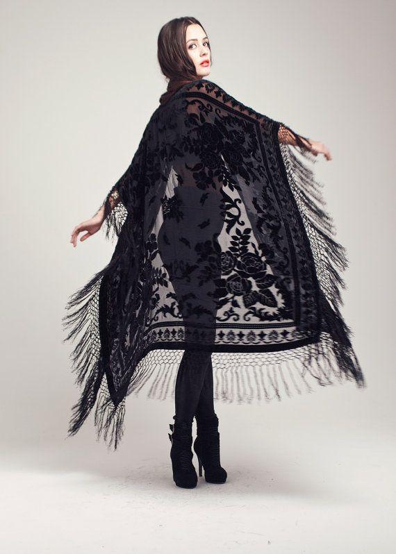 Velvet Fringe Kimono  Black Rose Maxi by shevamps on Etsy, £129.00