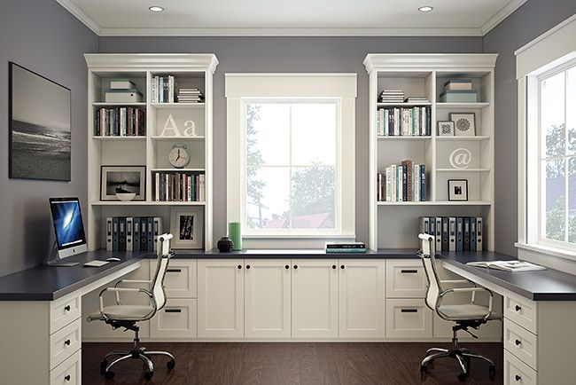 Move the built-ins to the right side and leave both the left and middle tops for working space, this is beautiful, functional, and HAS DESK SPACE -- Home Office | Built-in Office | Organized Interiors