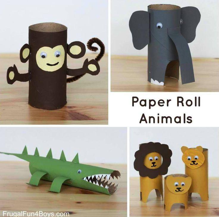 Rotolo di carta Animali |  22 semplici Crafts fai da te per bambini