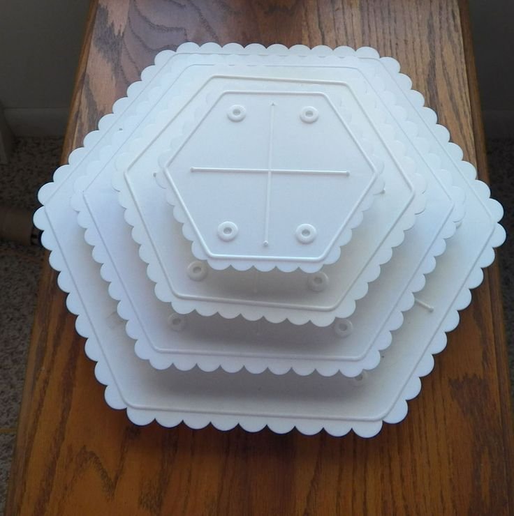 "PLASTIC CAKE STANDS, SEPARATORS 4 Tier square 6""-8""-10""-12"" Hexagonal #ASSORTED"