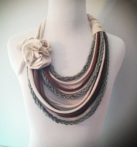 Cream Brown & Grey Tshirt Necklace with Finger Knit Strands by embelLUSHme, $27.00 from repurposed T-Shirts