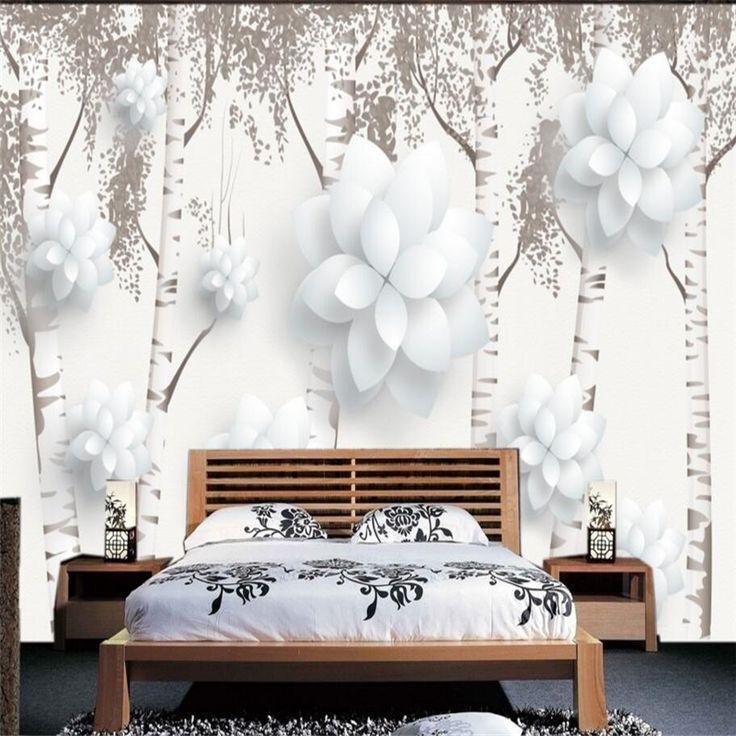 Grote 3 D custom behang behang home decor Europese stijl zwart-wit berkenbos 3 D bloemen muur schilderen pictures(China (Mainland))