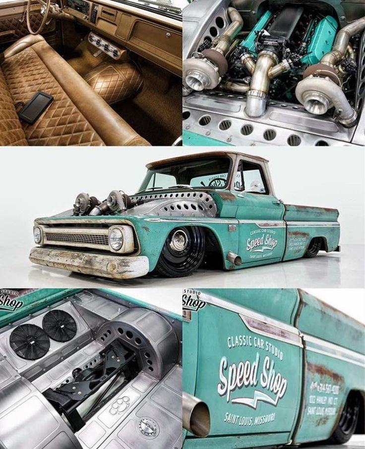 1964-66 Chevy C10 slammed with amazing metal work under the hood, in the bed, and a top notch interior