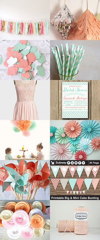 Mint & Coral Party decorations & printables from Etsy. All you need for a cute shower or Easter party!