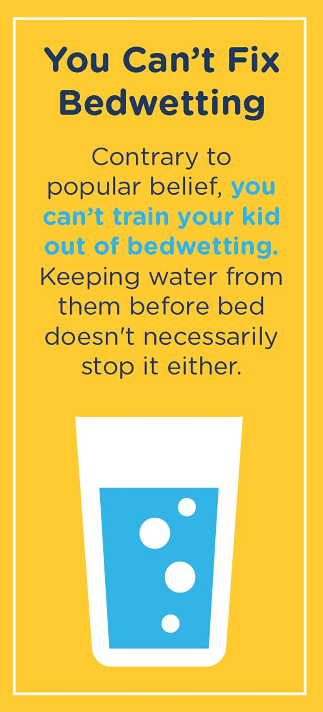 Bedwetting happens because of a  psychological disconnect between your child's brain and bladder. While they're asleep, the brain misses the signal that it's time to go. So, no, there's no curing it. It's natural, and it will go away naturally, too.
