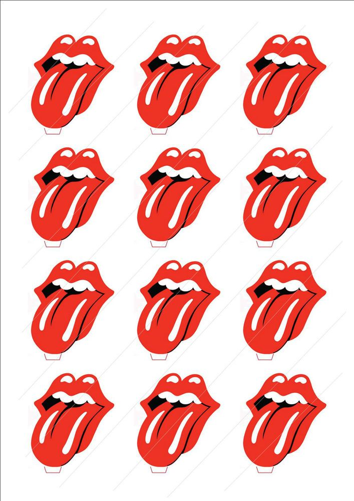 Novelty The Rolling Stones Logo Lips Edible Cake Cupcake Toppers Decorations