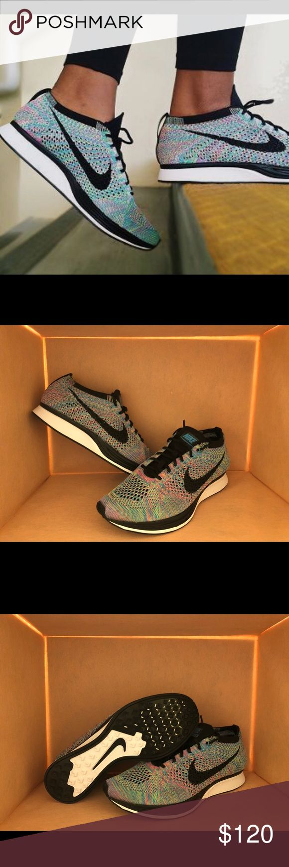 Flyknit Racer Multicolor NWT. In box - no lid. Flyknit wraps your foot for total comfort Bootie-style construction lets you slip in and out quickly Nike Zoom Air cushioning is lightweight and responsive Rubber outsole for durability. Nike Shoes Sneakers