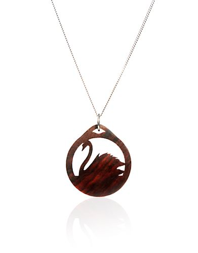 Swan Necklace with Exotic Wood and Silver
