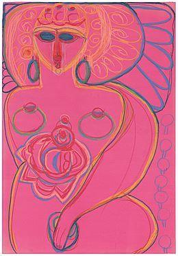 Femme nue sur papier rose - SIKART Dictionnaire et base données