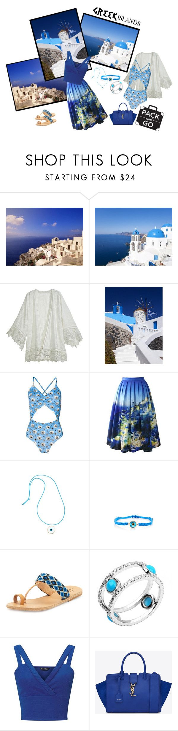 """Pack and Go: Greek Islands"" by sue-wilson1967 ❤ liked on Polyvore featuring Calypso St. Barth, Chicwish, Elena Votsi, Elina Lebessi, Avanessi, Miss Selfridge, Yves Saint Laurent, Packandgo and greekislands"