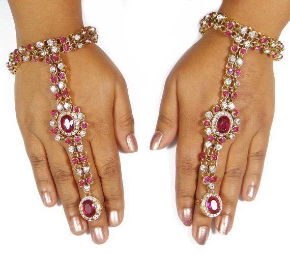 Hath Phool Bridal Jewelry Pink White Stone Panja Gold by Abhusana