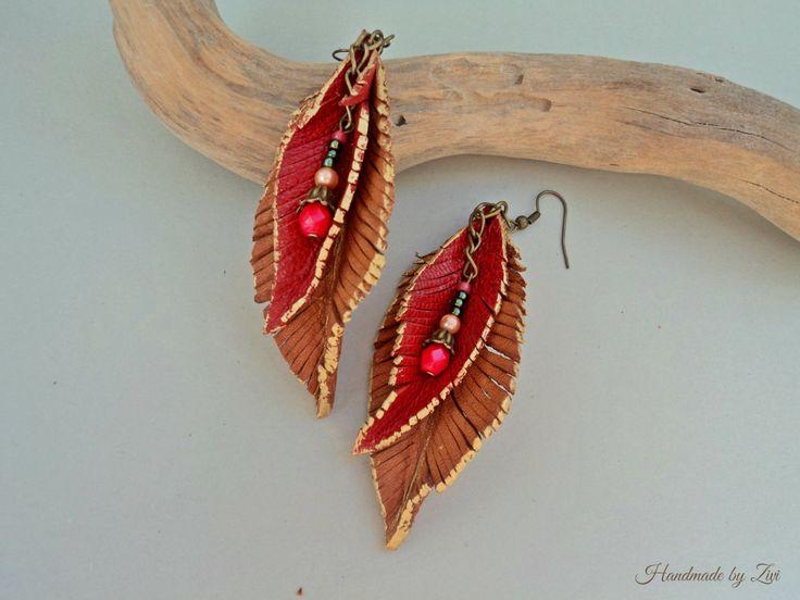 Lange lederen veren keten rode oorbellen door elrinconcitodezivi