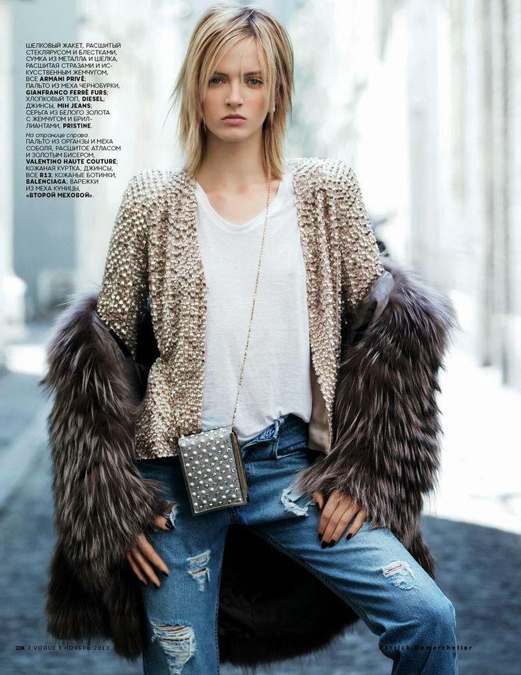 Daria Strokous by Patrick Demarchelier for Vogue Russia November 2013 . Armani Prive