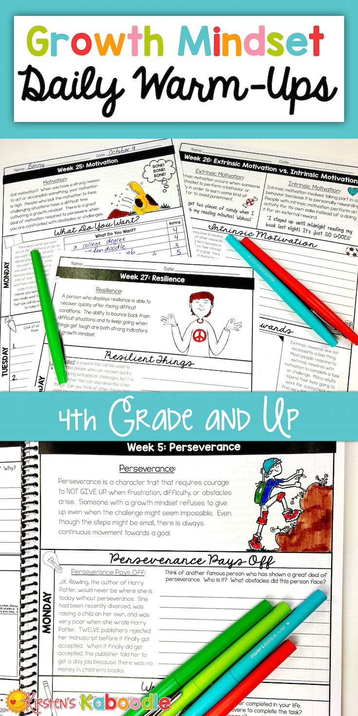 These growth mindset daily warm-up activities are perfect for teachers who are looking for quick, easy to use, no prep, information-packed, daily growth mindset instruction. These 200 activities, which span across 40 weeks, will give you everything you need to teach your 4TH GRADE AND UP classroom about all things growth mindset! #growthmindset