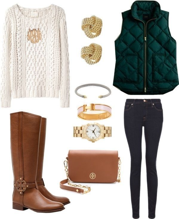 Fisherman sweater, puffer vest and tan boots
