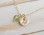 Tiny 14k Gold Filled Disc hand stamped monogram initial with birthstone - on sale $23