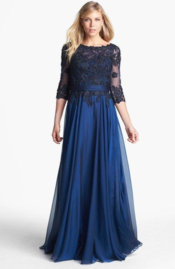 La Femme Lace Overlay Chiffon Gown available at #Nordstrom