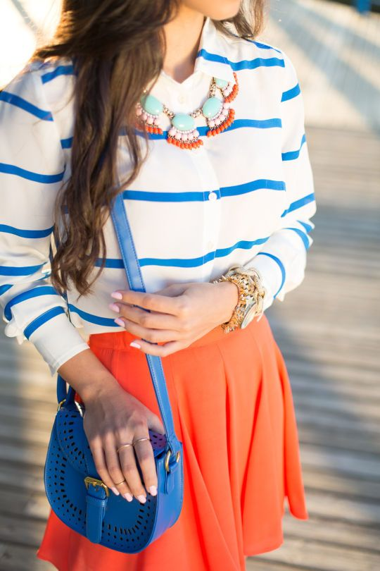 Dreams Style, Nail Polish, Skirts, Fashion Style, Clothing, Cobalt Orange, Spring Summe, Cobalt Blue Necklaces Outfit, Dreams Closets