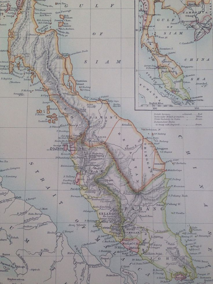 1875 MALAY PENINSULA original antique map cartography