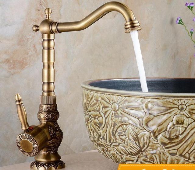 Brass Kitchen Faucet European Antique Faucet Retro Carved Basin
