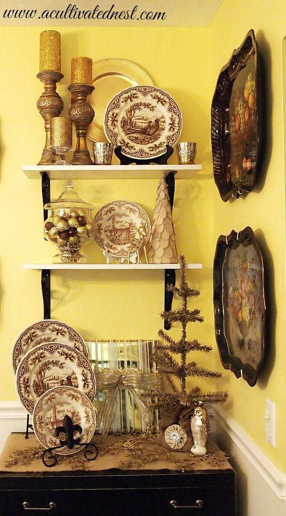 Christmas decorating with brown transferware and bronze and gold items