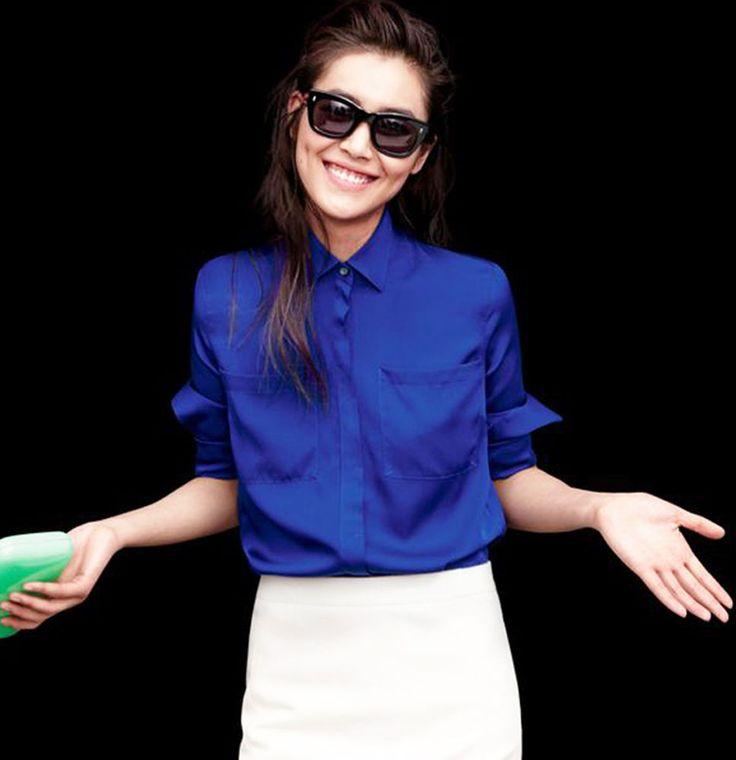 NEW J CREW Silk Pocket Blouse Button Up Down Shirt Iris Blue Purple 16 T16 Tall #JCrew #Blouse #Career