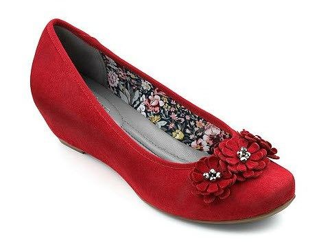 Red Concealed Wedge Shoe