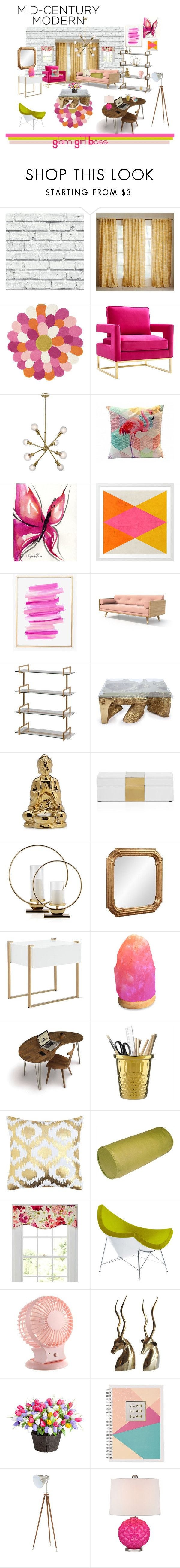 """""""Mid Century Modern Glam Girl Boss"""" by brianna-przybysz-zajicek ❤ liked on Polyvore featuring interior, interiors, interior design, home, home decor, interior decorating, West Elm, HARLEQUIN, Brush Strokes and WALL"""