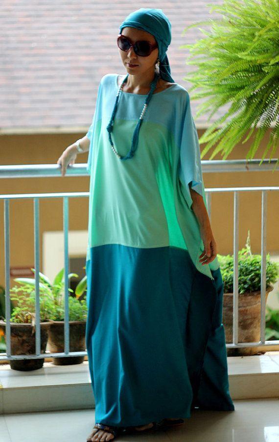 Hijab Fashion 2016/2017: Plus size maxi dress shades of green kaftan tunic caftan  beach cover up lounge wear cruise wear long caftan  maternity  wear