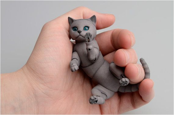 BJD cat British.  by ElleoDolls on Etsy 5CM
