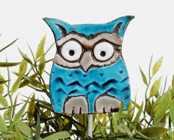 Owl Garden Art Plant Stake Garden Decor Owl Ornament By GVEGA, ...