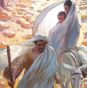 Marie, Joseph, et Jésus quittant Bethléhem.                              …