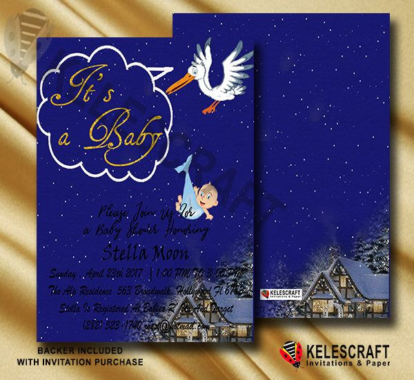 Navy and Stars Sky Baby Shower Invite Stork Bringing Baby Oh Baby Shower Invite Ready Made Printed Baby Shower Invitation DiY Printable by KelesCraft on Etsy