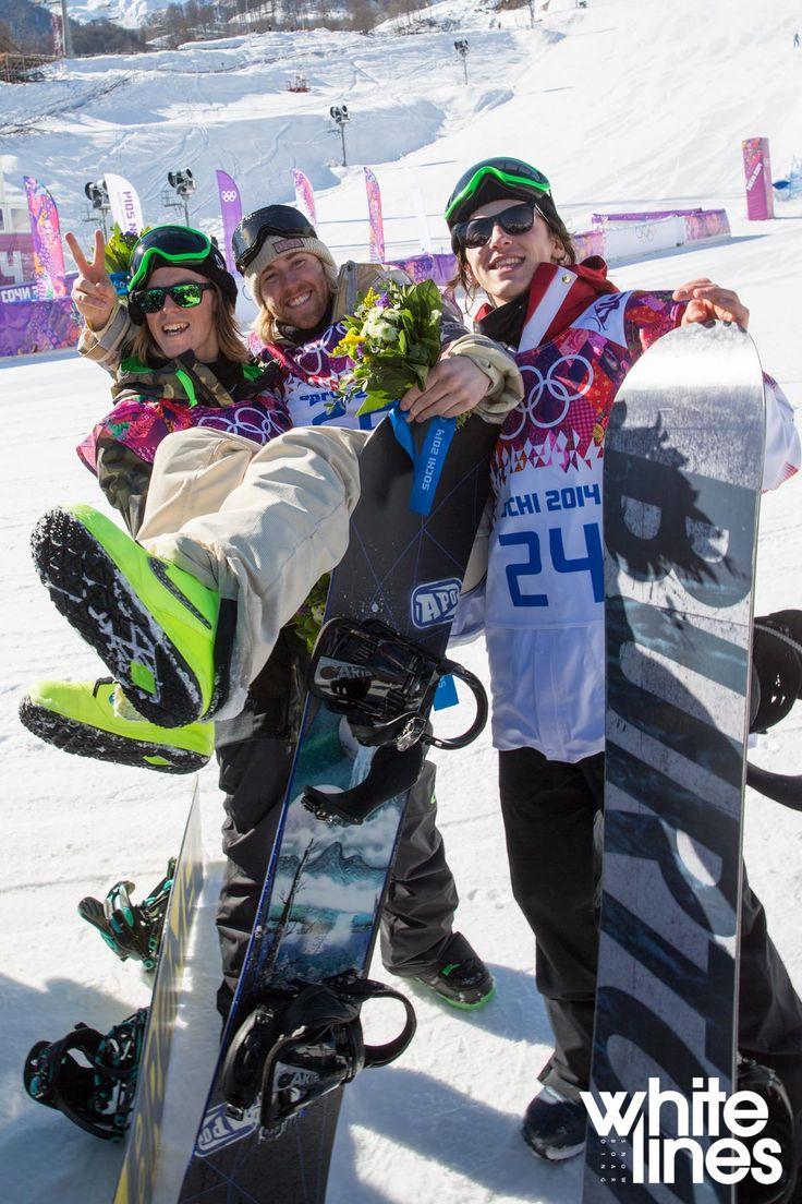 2014 Olympic slopestyle medalists Sage Kotsenburg, Staale Sandbech, and Mark Mcmorris