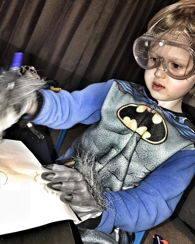 When Corben commits, he commits. He was writing a DANGER notice on a piece of paper which required him to wear goggles and beast gloves. If you're doing something, do it properly.