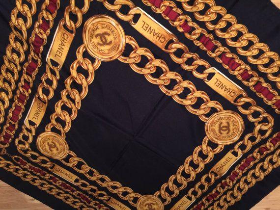 Auténtico Vintage de la década de 1990 100% seda bufanda Chanel