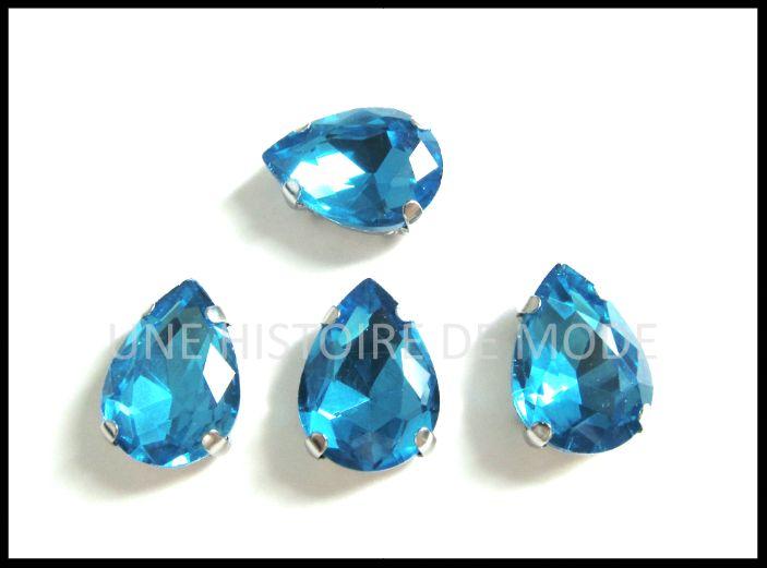 4 strass sertis - forme de goutte - bleu - 14 x 10 mm