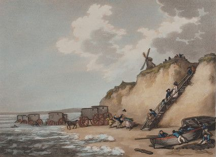 Bathing Machines. Aquatint by Thomas Rowlandson, 1790. Shows several bathing carts on Brighton beach. Cliffs Men and women in hats descending wooden steps from cliff to beach. Windmill on cliff. Fisherman with boats. One is repairing nets.
