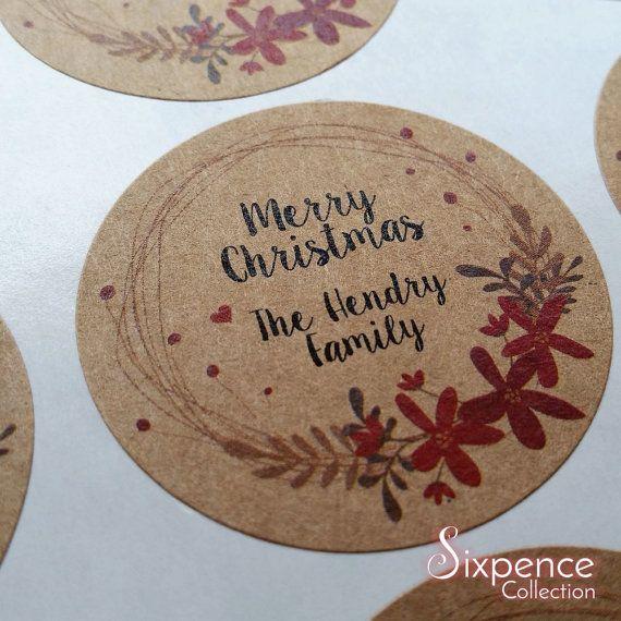 24 x Christmas gift labels kraft brown sticker seals